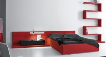 contemporary red and black bedroom