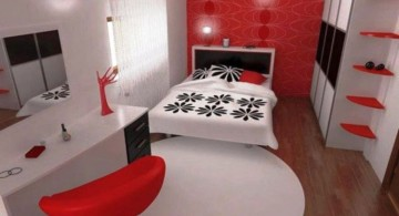 contemporary red black and white bedroom ideas