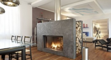 contemporary scandinavian fireplace design ideas that also work as separator