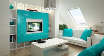 contemporary turquoise living room for loft apartment