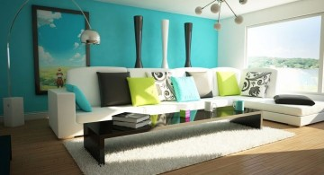 contemporary turquoise living room with unique pendant light