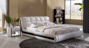 contemporary white curved bed designs