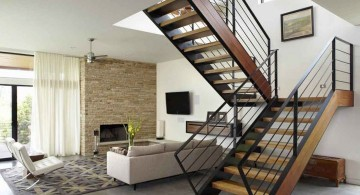contemporary wooden stairs