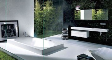 cool modern bathrooms with black marble wall