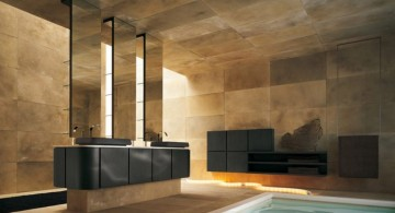 cool modern bathrooms with marble wall and floor tub