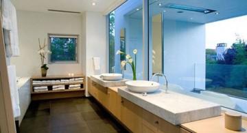 cool modern bathrooms with wooden floor