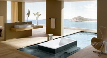 cool modern bathrooms with wooden floor and large floor tub