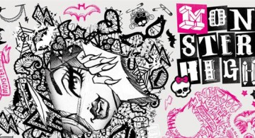 cool monster high pink and black wall decor