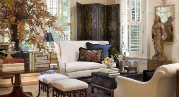 cozy autumn themed vintage living room ideas