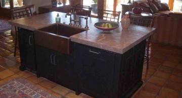 cozy dark wood kitchen island with sink