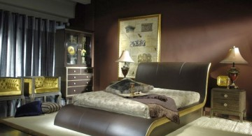 curved bed designs in olive and earth tone colors