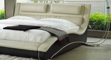 curved bed designs with unique bedside lamp