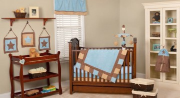 cute baby girl bedding ideas in plain blue and brown