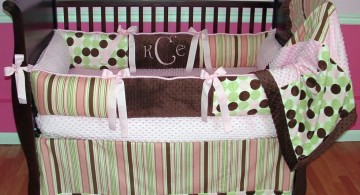 cute baby girl bedding ideas in stripes and polkadots