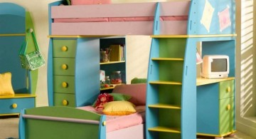cute green and blue funky bunk beds