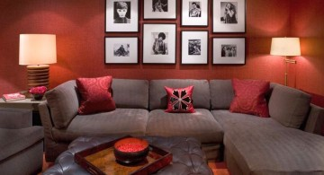 earth tone living room with grey sofa and terracotta wall