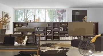 earth tone living room with low bookshelf as separator