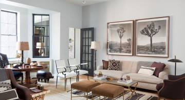 earth tone living room with modern furniture for small houses