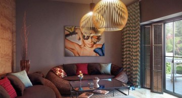 earth tone living room with unique pendant lamp for small spaces