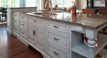 elegant wide kitchen island with sink