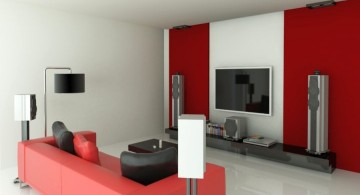 entertainment room in red and white