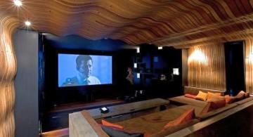 entertainment room with unique ceiling design