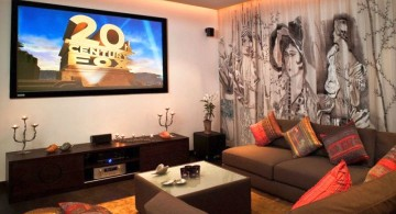 entertainment room with wall mural