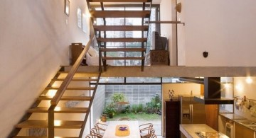 floating U shaped wooden stairs