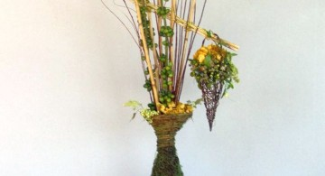 floor vase with branches in green