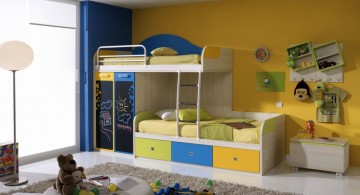 funky bunk beds with chalkboard doors