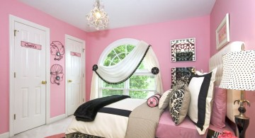 girly pink and black bedroom decor