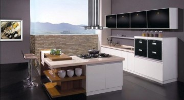 glossy black and white modular kitchen designs