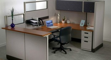 grey toned on wooden panel small office plans