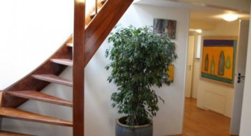 half spiral wooden staircase designs for low ceilinged houses
