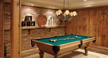 hang out room ideas with small billiard table and vintage lamp