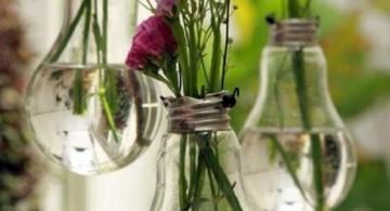 hanging flower vase using old unused lightbulbs