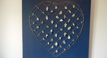 heart with hanging seashells diy bedroom art