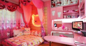 hello kity girls bedroom designs with canopied bed