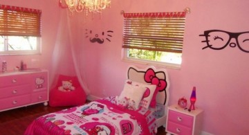 hello kity girls bedroom designs with glasses decal