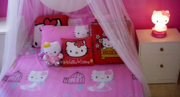 hello kity girls bedroom designs with small hello kitty bedside lamp