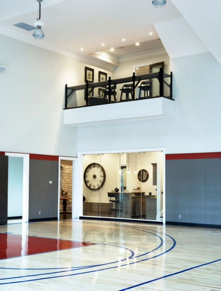 ideas for home gym in garage - indoor home basketball courts with small indoor balcony