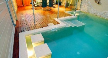 indoor swimming pool designs with side seats for limited space