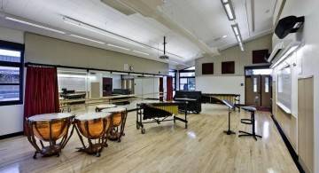 industrial and low ceilinged music room designs