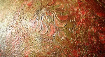 interior textured wall designs in red and orange