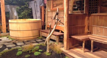 japanese garden designs for small spaces with wooden tub
