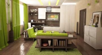japanese inspired living room in green
