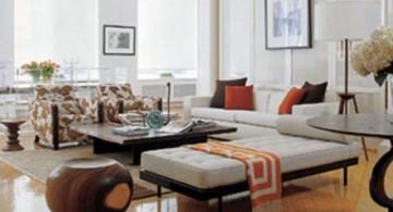 japanese inspired living room in white color scheme