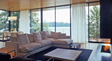 japanese inspired living room with L-shaped sofa and built in fireplace