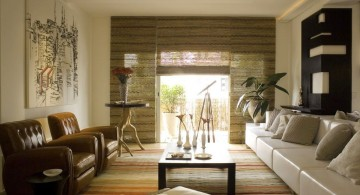 japanese inspired living room with bamboo curtains