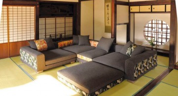 japanese inspired living room with large sofa